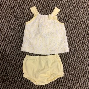 Baby girl yellow lace top with bloomers
